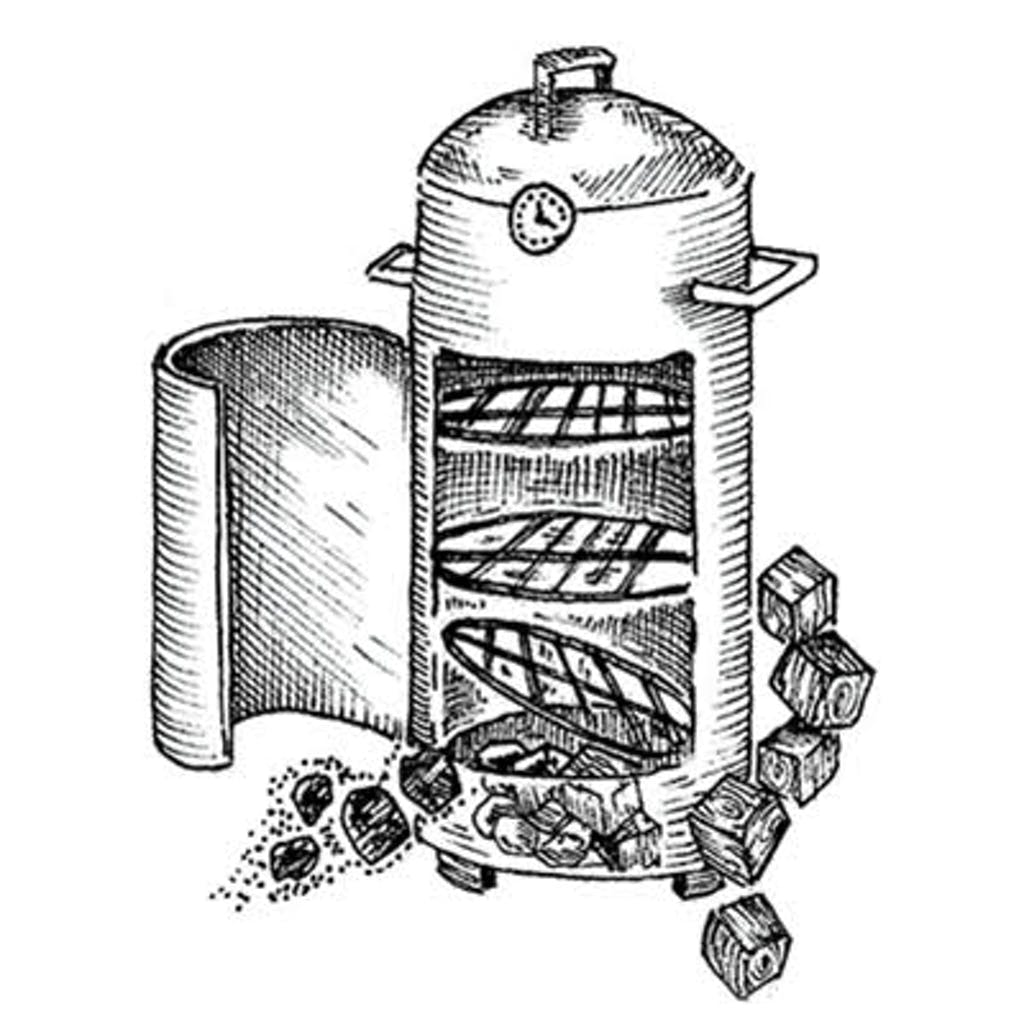 Fig. 2 — Vertical Smoker In this case, your primary fuel is charcoal, so for smoke, add dry wood chunks (these come in roughly 3-inch cubes). Chunks burn more slowly than chips, providing smoke over a longer period. Though it's a common suggestion, there's no need to soak the chunks in water.