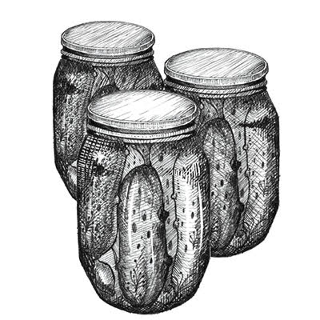 Fig. 2 — Pickling There are two general kinds of pickling: The first uses vinegar (think cucumbers, okra, jalapeños). The second involves a brine solution and fermentation (think sauerkraut). Refrigeration is recommended.