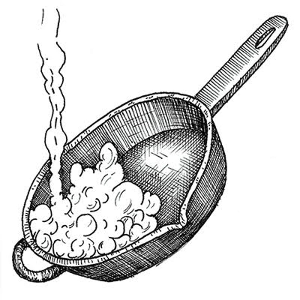 Fig. 1 — Boil water in skillet and dump. Repeat three or four times. If skillet is flaking, fill it with coarse salt and a little hot water. Scrub vigorously with a rag. Rinse.