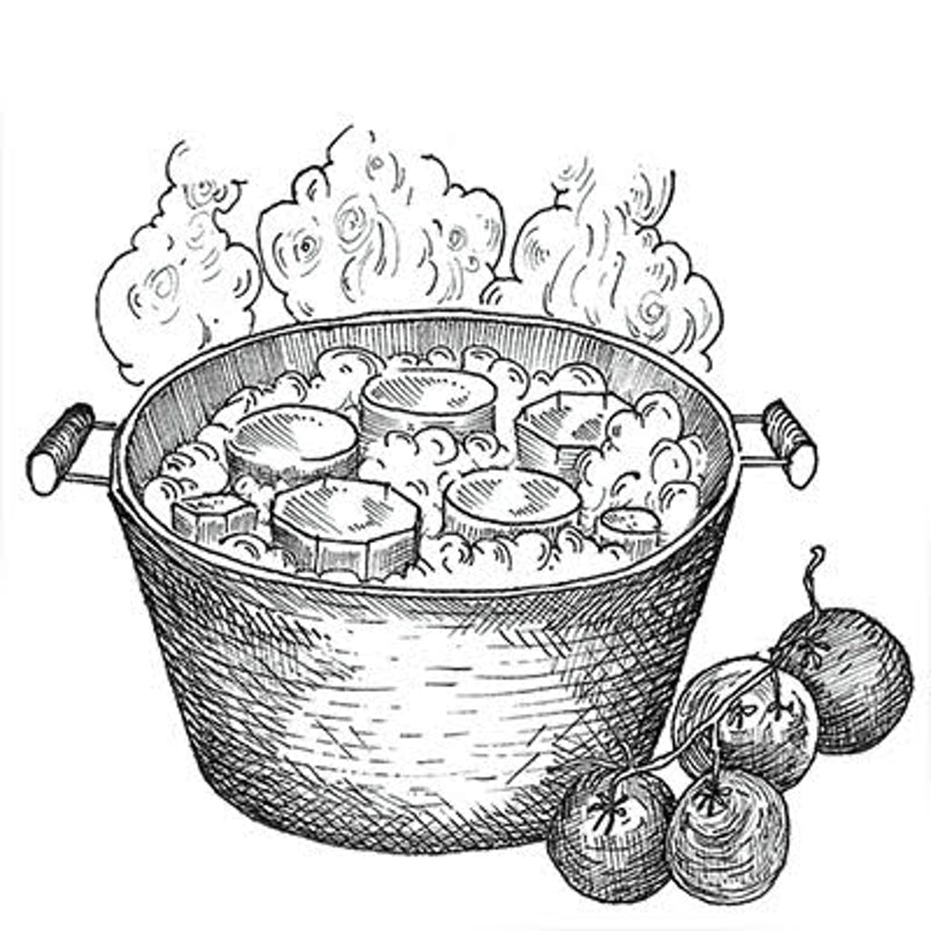 """Fig. 3 — Canning Storage for the long term. After preserving, you immerse the filled jars, lids on, in boiling water for 10 minutes. When the jars cool, the lids seal with a """"pop"""" and create a vacuum that shuts out oxygen and bacteria. No refrigerator needed."""