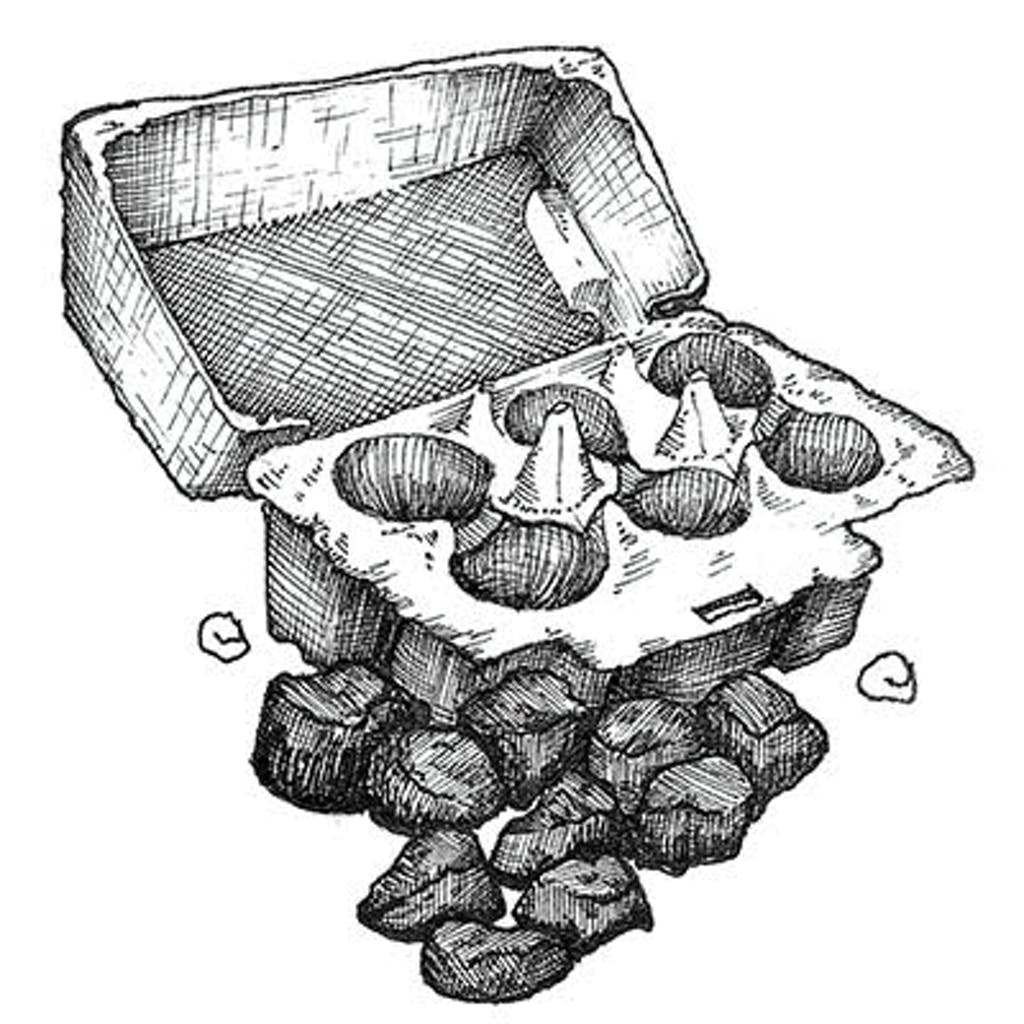 Fig. 3 — Egg Carton Pieces An urbanite's version of kindling. Sprinkle a broken-up cardboard egg carton with cooking oil, place the pieces among the charcoals, and light with a match. You may need to blow a bit to get the flames going.