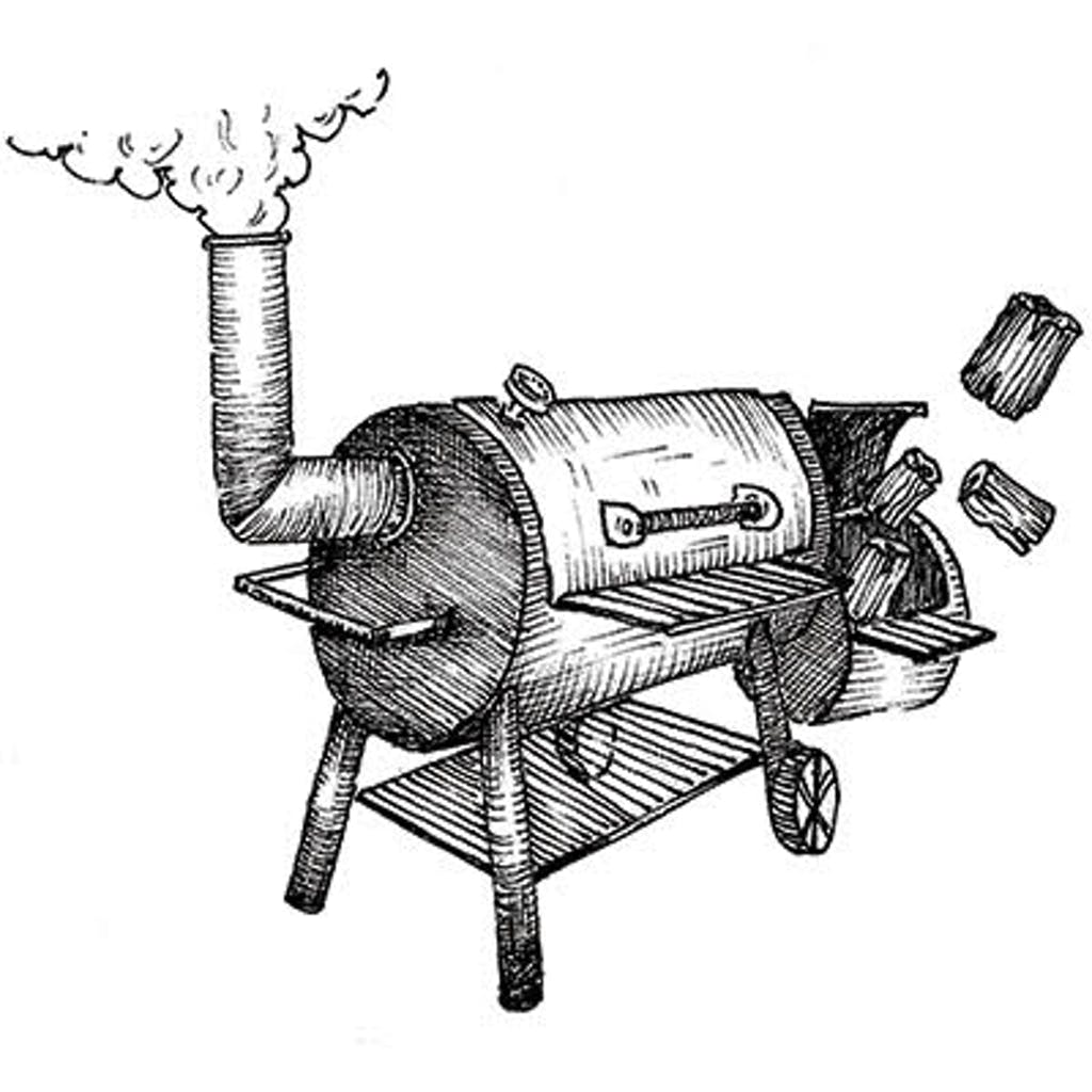 Fig.1 — Steel Offset Smoker Use dry, split wood that's been seasoned for at least six months (a year or more in the case of mesquite). Dry wood burns cleaner and split logs catch fire more quickly. There's no shame in starting the fire with charcoal, but a pile of newspaper and twigs works just as well.