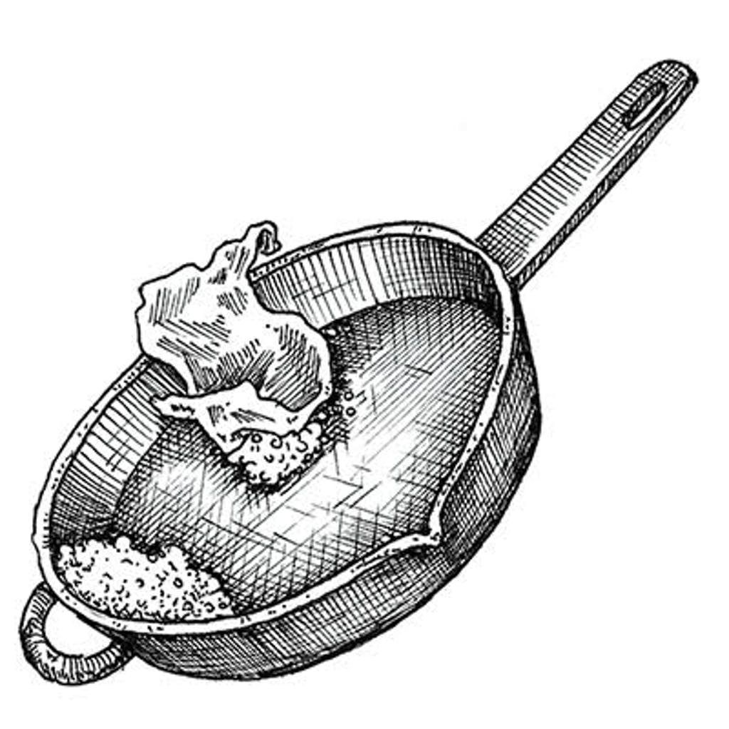 Fig. 3 — Turn off oven and let skillet cool inside. If it hasn't been used in a while, rinse again with boiling water. Wipe down with a clean rag.