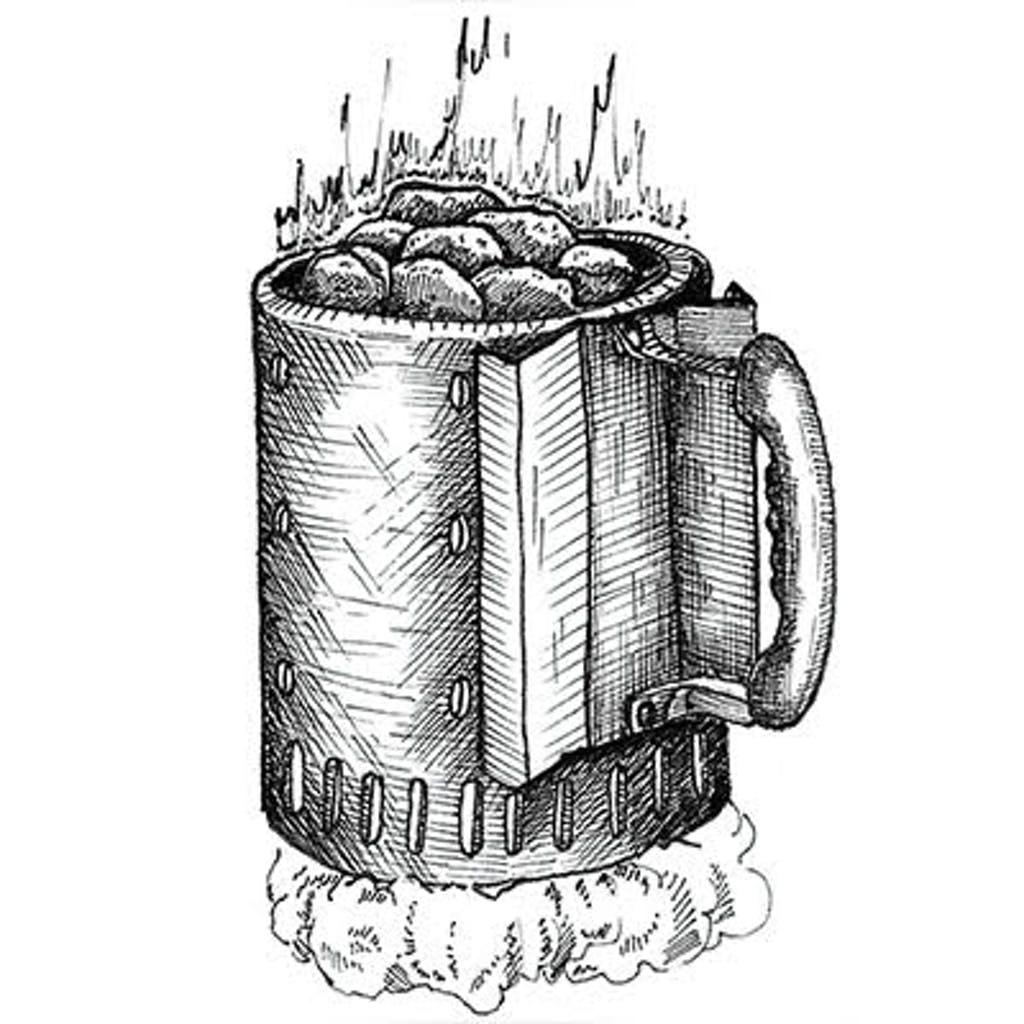 Fig. 1 — Chimney Starter Very fast and easy. Stuff a fist-size ball of newspaper into the lower chamber of the chimney, fill chimney with charcoal, then light the paper. The paper will ignite the coals in about 10 minutes; when you see them glowing, pour them into the center of your grill.