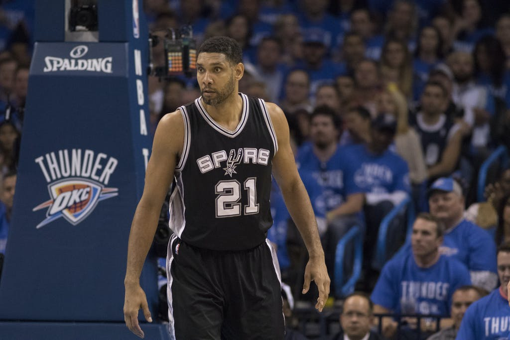 OKLAHOMA CITY, OK - MAY 12: Tim Duncan #21 of the San Antonio Spurs waits for the Oklahoma City Thunder to bring the ball down court during the second half of Game Six of the Western Conference Semifinals during the 2016 NBA Playoffs at the Chesapeake Energy Arena on May 12, 2016 in Oklahoma City, Oklahoma. NOTE TO USER: User expressly acknowledges and agrees that, by downloading and or using this photograph, User is consenting to the terms and conditions of the Getty Images License Agreement. (Photo by J Pat Carter/Getty Images)