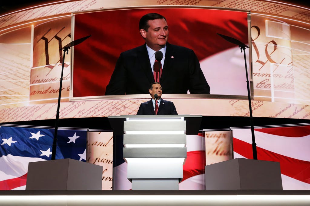 CLEVELAND, OH - JULY 20: Sen. Ted Cruz (R-TX) delivers a speech on the third day of the Republican National Convention on July 20, 2016 at the Quicken Loans Arena in Cleveland, Ohio. Republican presidential candidate Donald Trump received the number of votes needed to secure the party's nomination. An estimated 50,000 people are expected in Cleveland, including hundreds of protesters and members of the media. The four-day Republican National Convention kicked off on July 18. (Photo by Chip Somodevilla/Getty Images)
