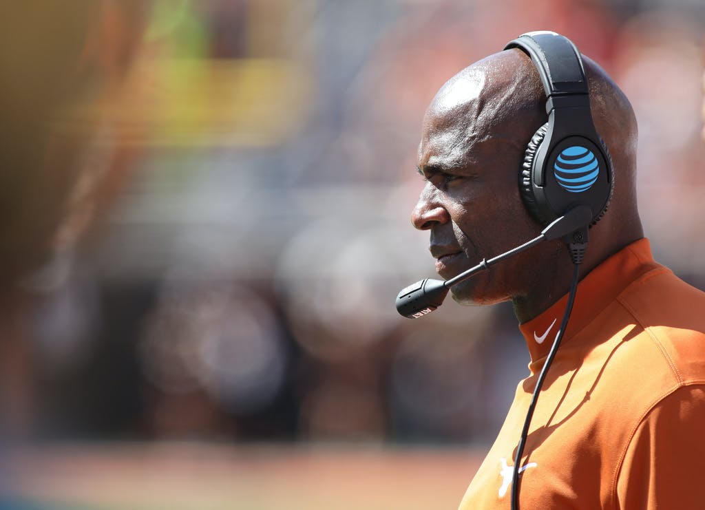 STILLWATER, OK - OCTOBER 1 : Head Coach Charlie Strong of the Texas Longhorns watches during the game against the Oklahoma State Cowboys October 1, 2016 at Boone Pickens Stadium in Stillwater, Oklahoma. The Cowboys defeated the Longhorns 49-31. (Photo by Brett Deering/Getty Images)