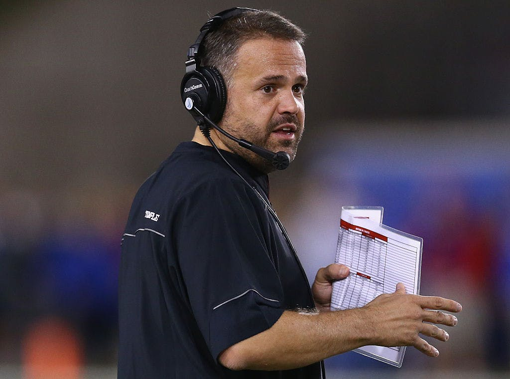 Head coach Matt Rhule of the Temple Owls during play against the Southern Methodist Mustangs in the first half at Gerald J. Ford Stadium on November 6, 2015 in Dallas, Texas.
