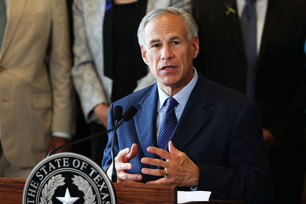 Texas Governor Greg Abbott speaks at Dallas's City Hall.