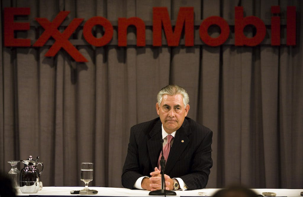 ExxonMobil Chairman Rex Tillerson speaks at a press conference after the ExxonMobil annual shareholders meeting at the Morton H. Meyerson Symphony Center May 28, 2008 in Dallas, Texas.