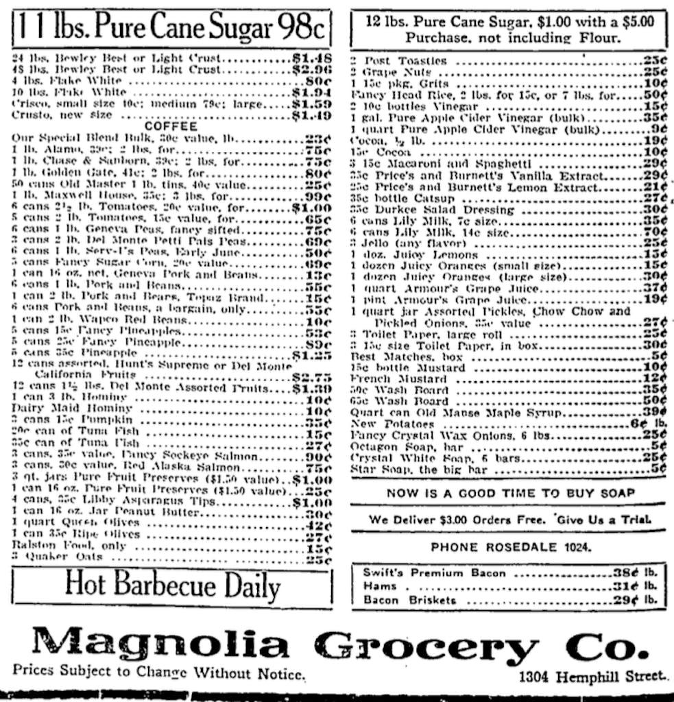 Magnolia Grocery FW 1917