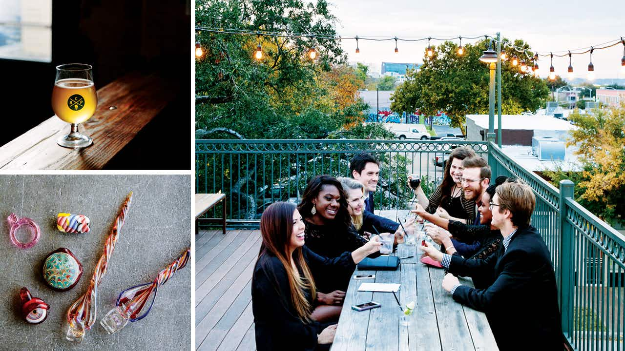 A craft brew at the Collective Brewing Project (top left), glass art created at SiNaCa Studios School of Glass and Gallery (bottom left), and the rooftop patio at the Live Oak Music Hall & Lounge (right).