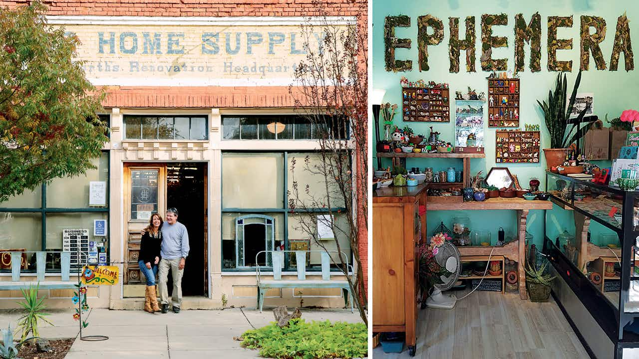 The owners of Old Home Supply (left) and the inside of Ephemera (right).