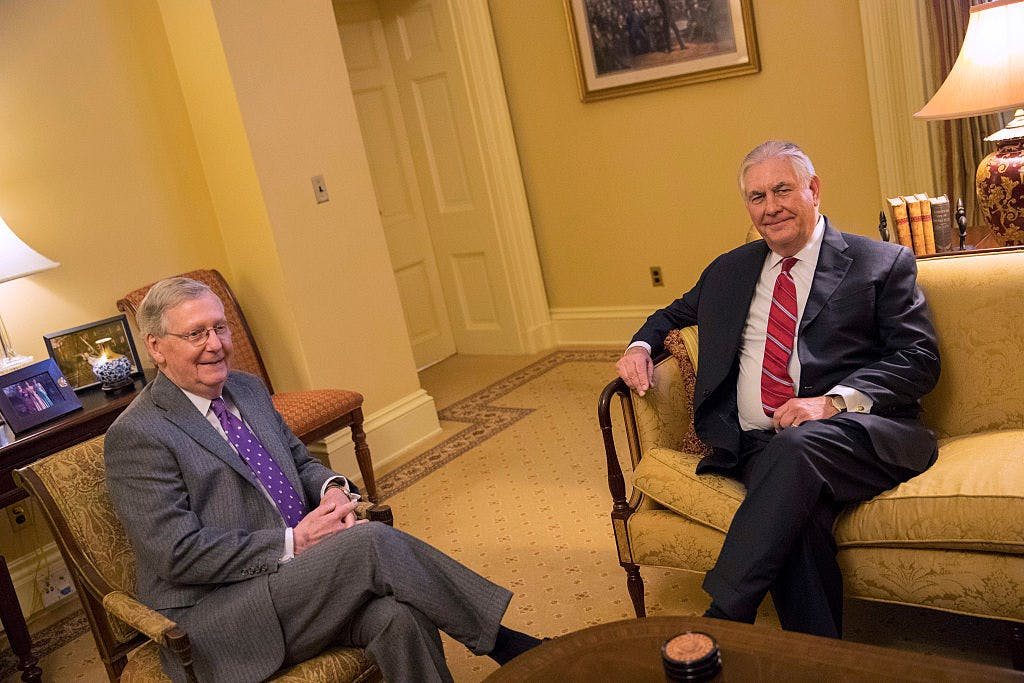 Senate Majority Leader Mitch McConnell (R-KY) (L) meets with Rex Tillerson on January 4, 2017 on Capitol Hill in Washington, DC. Tillerson is President-elect Donald Trump's nominee for Secretary of State.