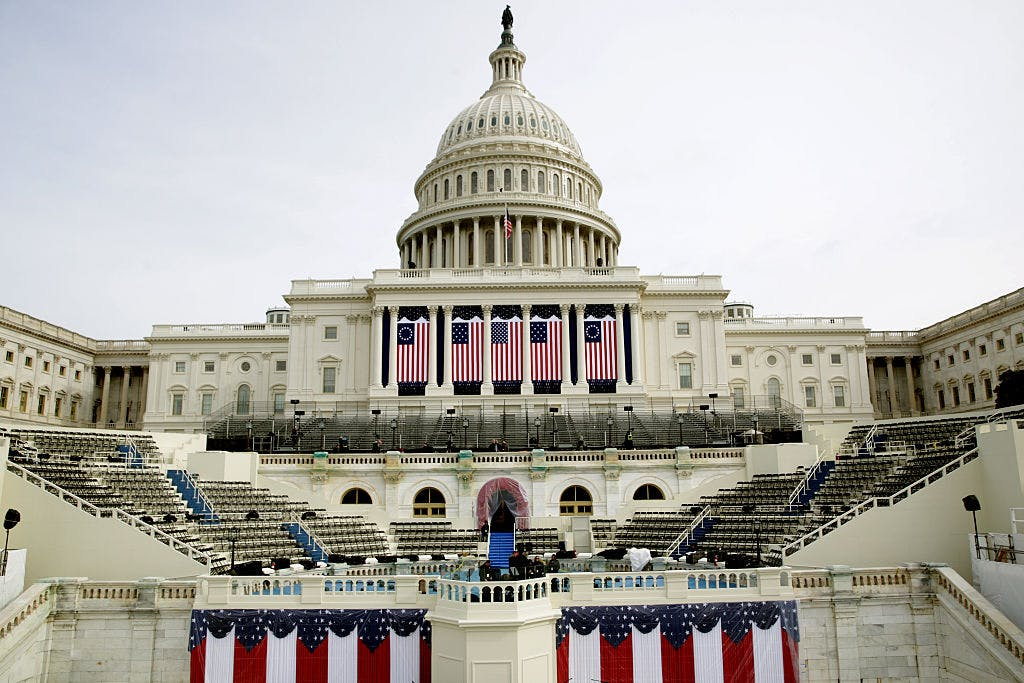 The West Front of the U.S. Capitol on January 20, 2017 in Washington, DC. In today's inauguration ceremony Donald J. Trump becomes the 45th president of the United States.