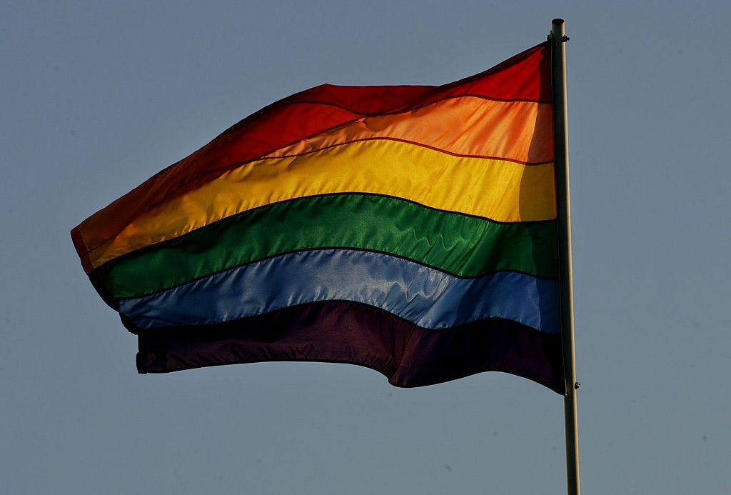 A rainbow LGBT flag on November 5, 2008 in San Diego, California.