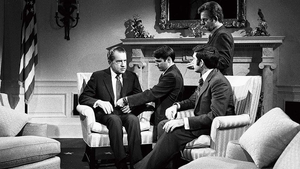 Dan Rather interviewing President Nixon in 1972.