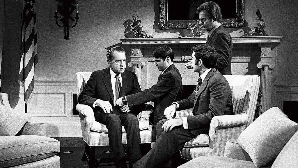 Dan Rather interviewing President Nixon in 1972.