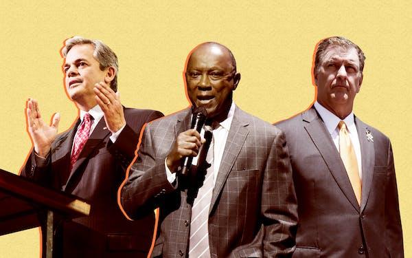 Mayors Steve Adler of Austin, Sylvester Turner of Houston and Mike Rawlings of Dallas