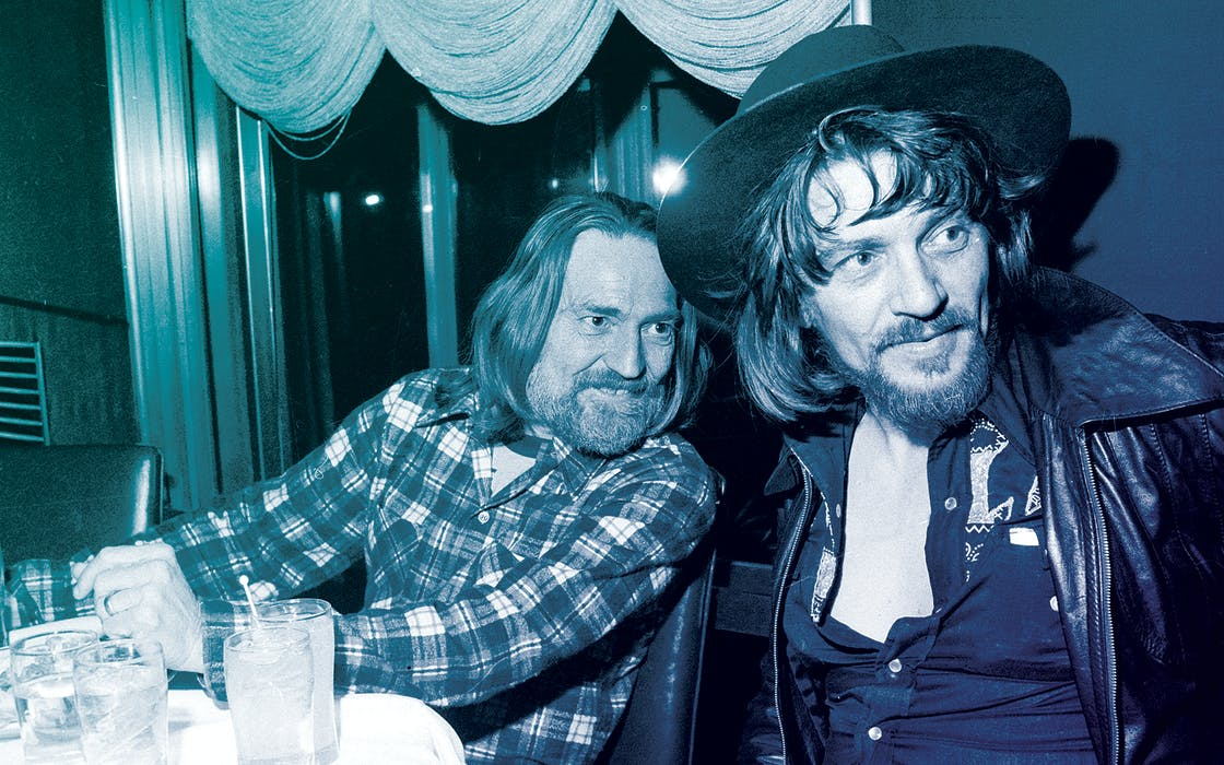 Country music singers Waylon Jennings, right, and Willie Nelson