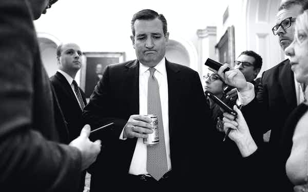Ted Cruz with reporters