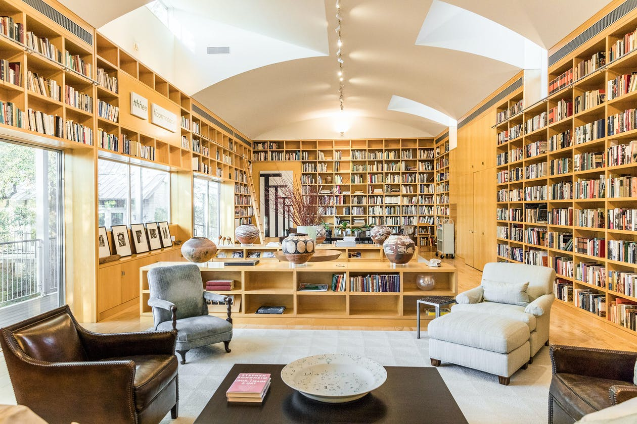 Melba and Ted Whatley's home library in Austin