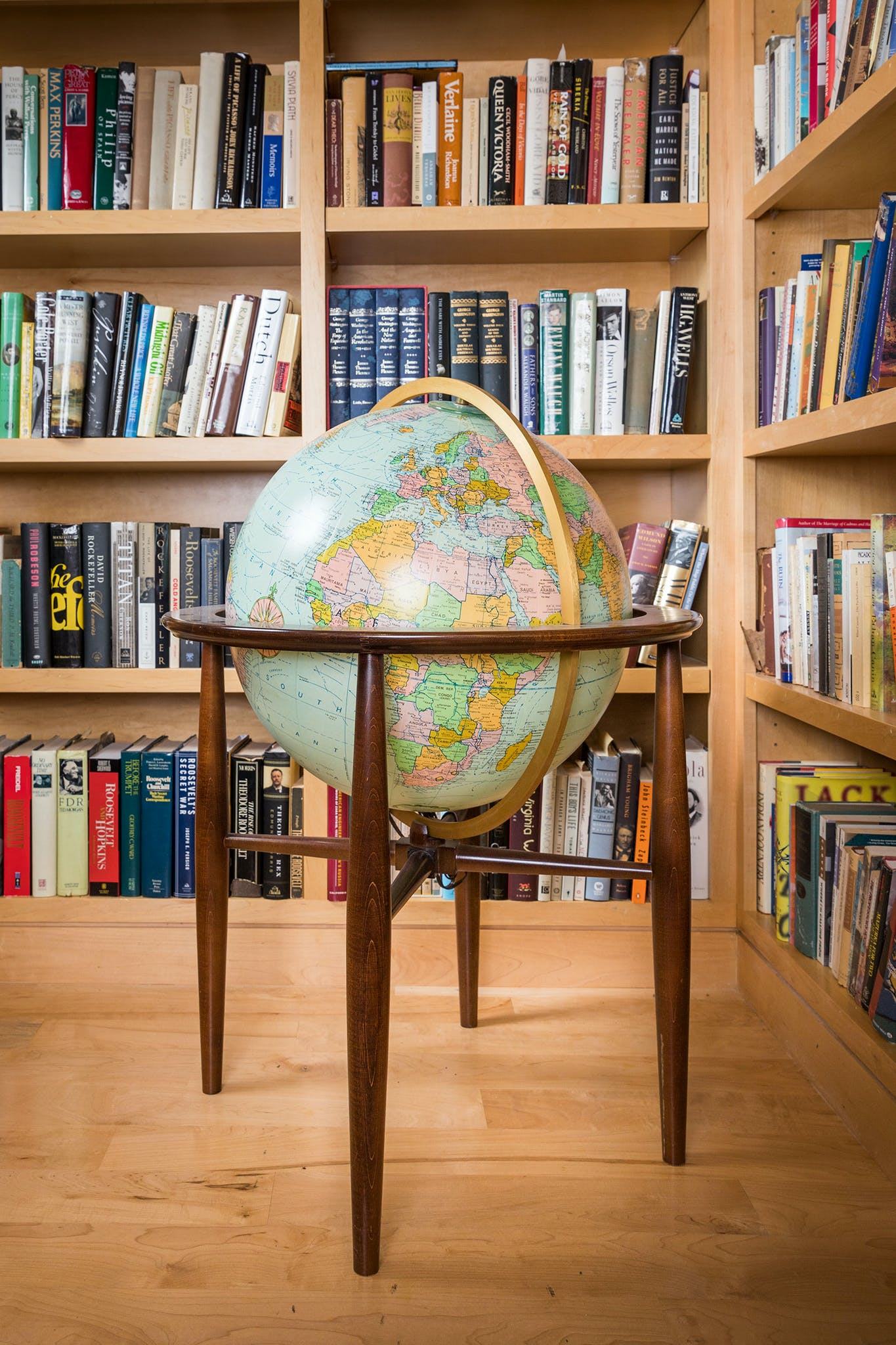 A globe in Melba Whatley's home library in Austin