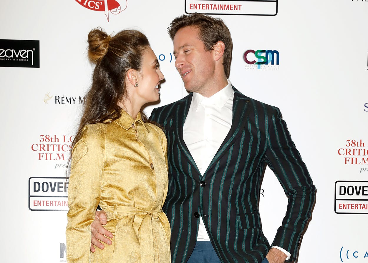 Elizabeth Chambers and Armie Hammer on January 28, 2018 in London, England.