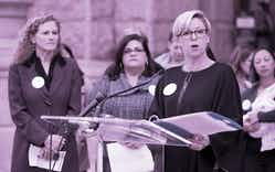 State Rep. Sarah Davis speaks about the vaccination and cancer issues in regards to the HPV vaccine in the state during a news conference at the Capitol, Wednesday, Dec. 7, 2016, in Austin.