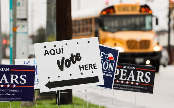 Signs mark a polling site as early voting begins, Tuesday, Feb. 20, 2018, in San Antonio. Early voting in Texas runs though March 2, 2018.