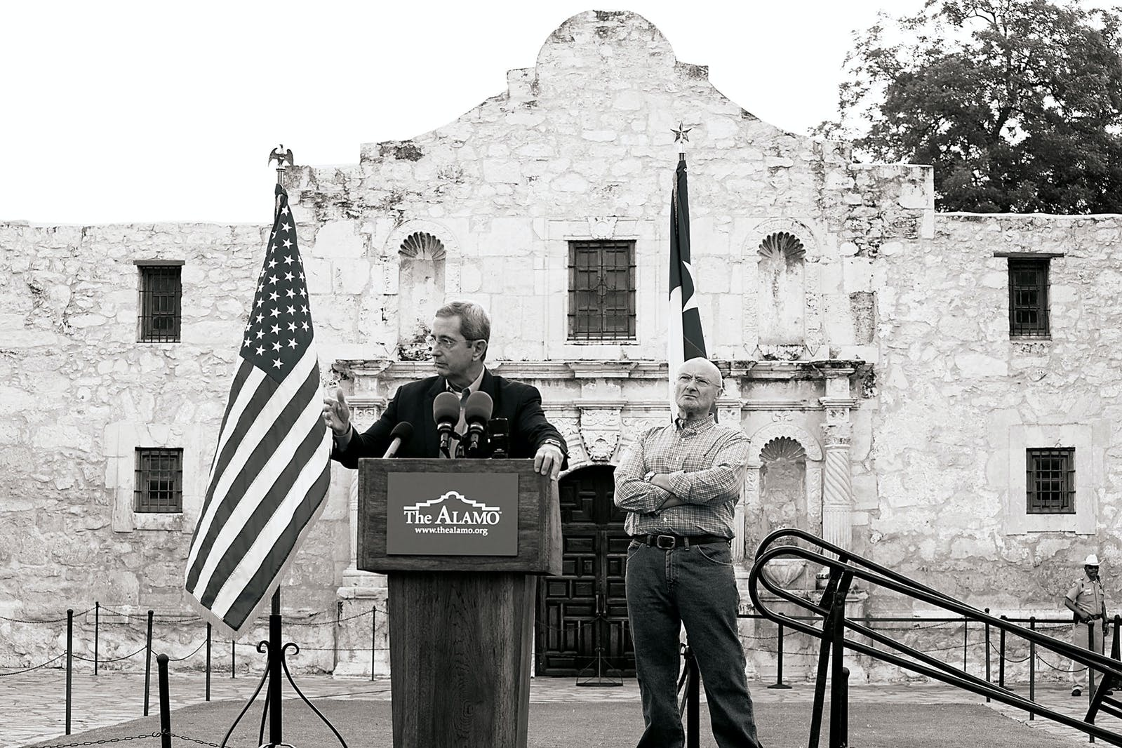 Jerry Patterson and Phil Collins at the Alamo