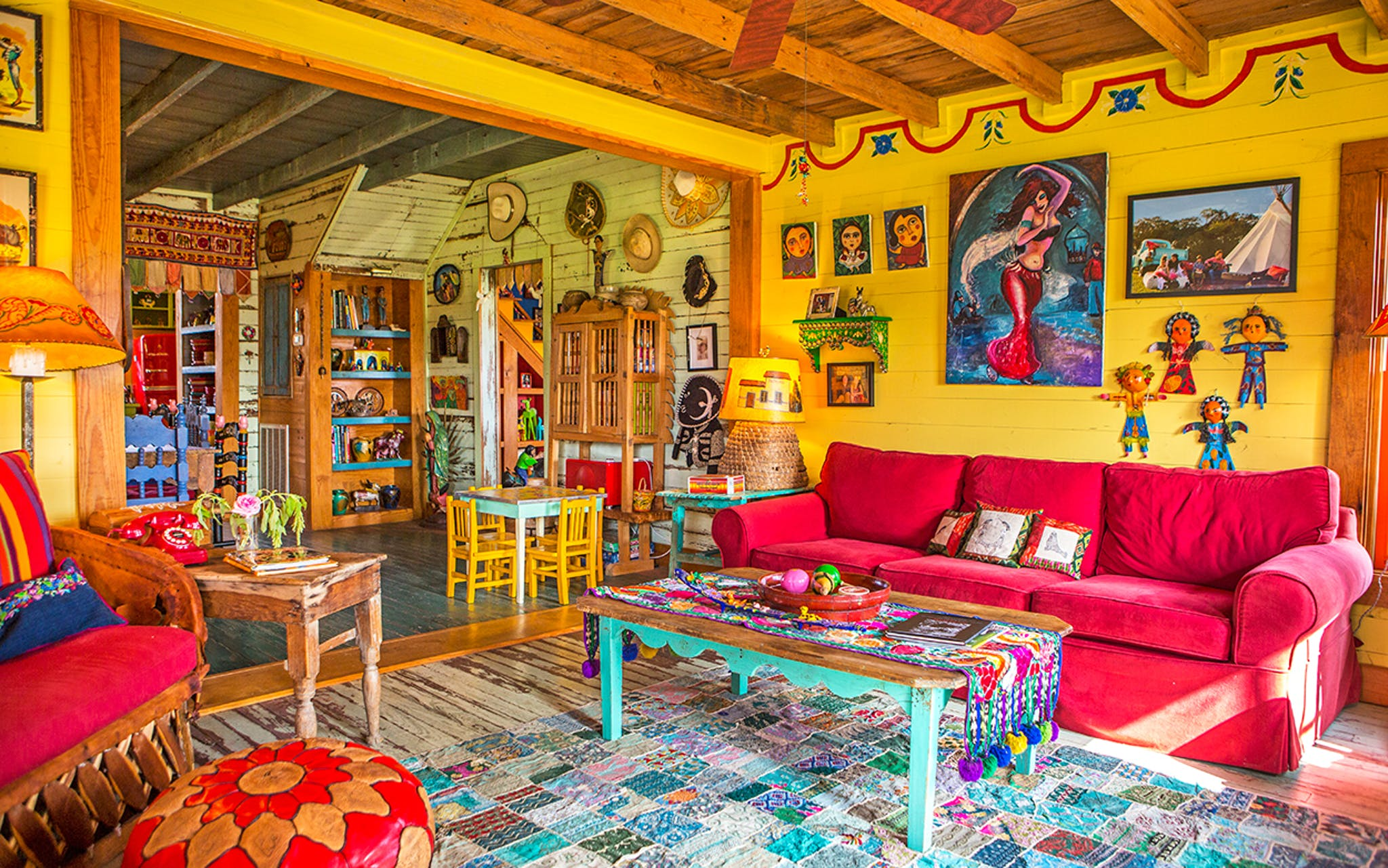 The living room of the Red House at Rancho Pillow in Round Top.