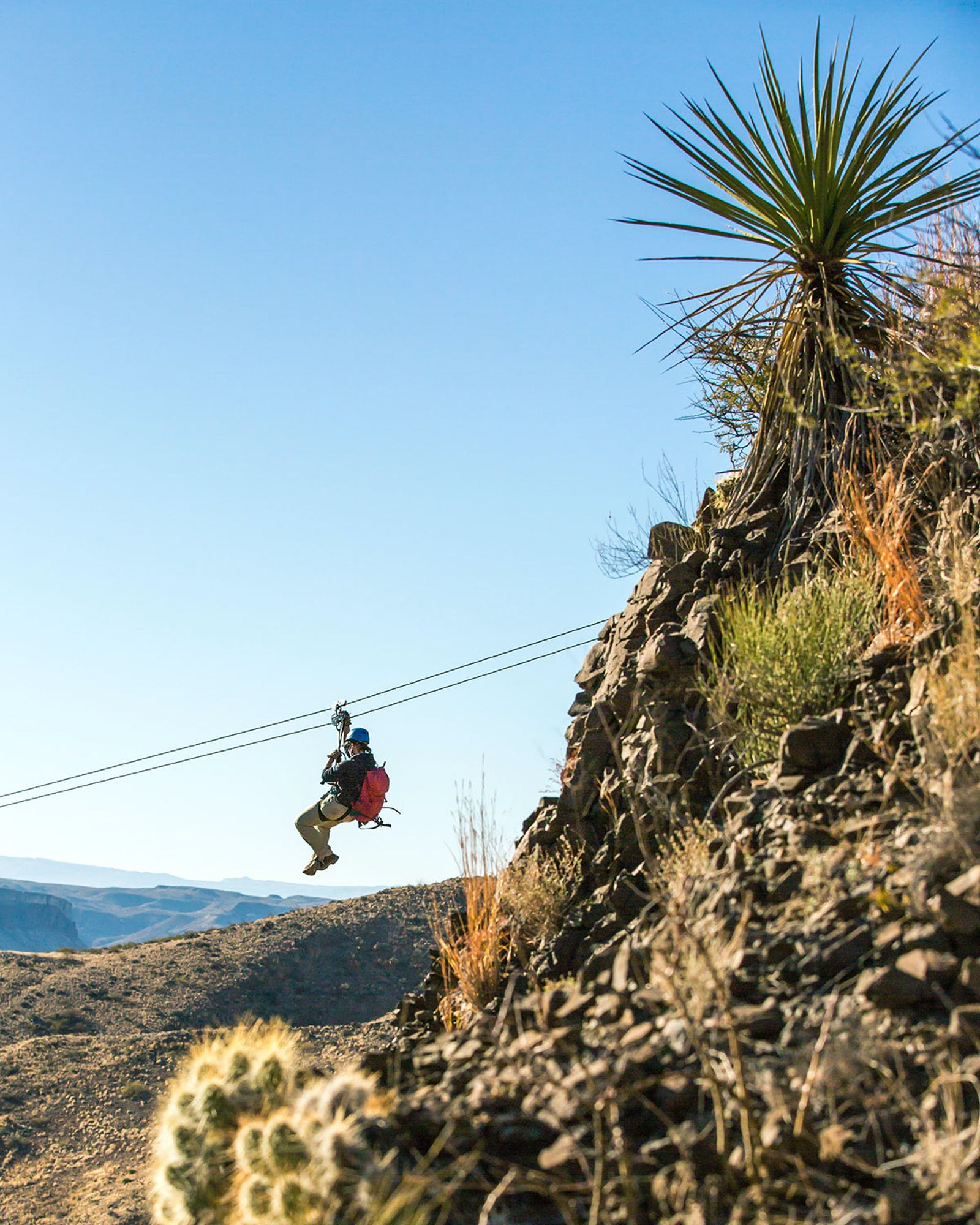 Zip lining in Big Bend