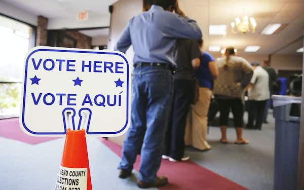 Vote Here line