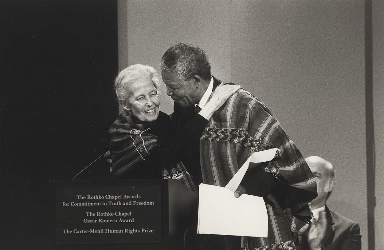 Dominique de Menil with Nelson Mandela at a ceremony honoring the recipients of the Carter-Menil Human Rights Awards at the Rothko Chapel in December, 1991.