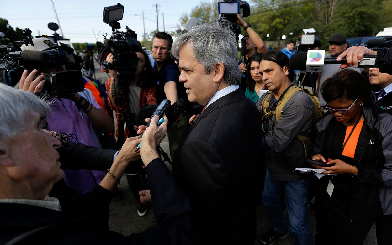 Austin mayor Steve Adler talks with the media about the bombings.
