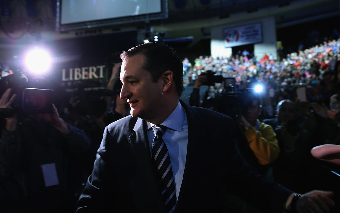 U.S. Sen. Ted Cruz (R-TX) walks on stage to speak at Liberty University to announce his presidential candidacy March 23, 2015 in Lynchburg, Virginia.