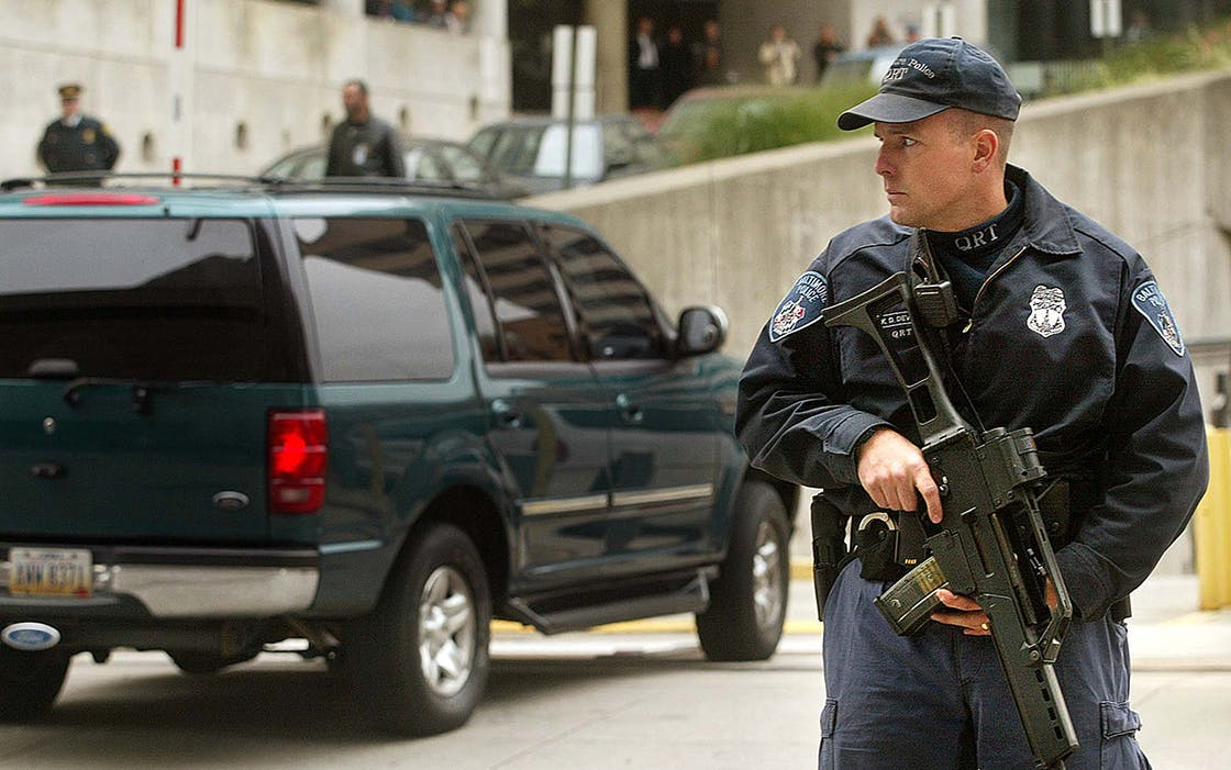 One of a motorcade of vehicles transporting and escorting two sniper suspects enters the U.S. Courthouse for an arraignment hearing October 24, 2002 in Baltimore, Maryland.