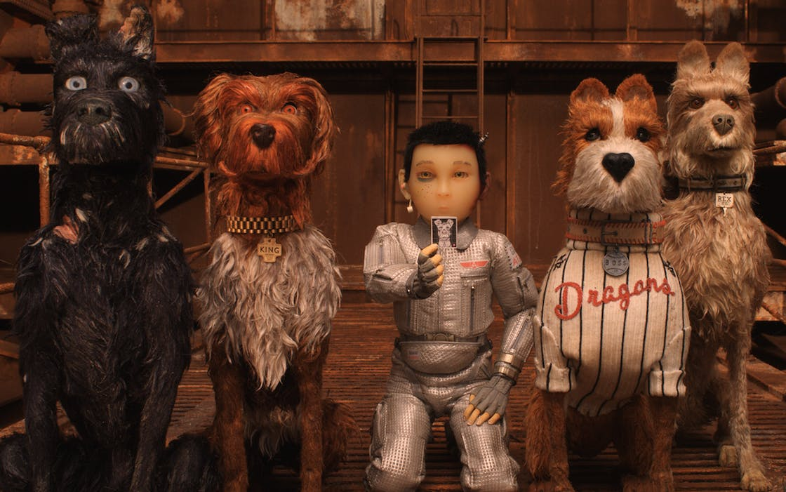 "Atari, a character voiced by Koyu Rankin, is flanked by canine characters Chief (Bryan Cranston) and King (Bob Balaban) on the left and Boss (Bill Murray) and Rex (Edward Norton) on the right in Wes Anderson's ""Isle of Dogs."""