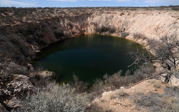 The original Wink Sink in Wink, Texas, from a photo taken Feb. 19, 2014.