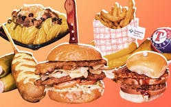 Menu items to enjoy at your next Texas Rangers game include the Dilly Dog, Vegan Grande Nachos, the Lays Homeplate Chicken Sandwich, Pickle Fries and the Triple B sandwich.