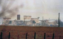 The Mount Carmel compound of the Branch Davidian cult can be seen in the distance near Waco, March 1, 1993, shortly after the beginning of the 51-day siege.