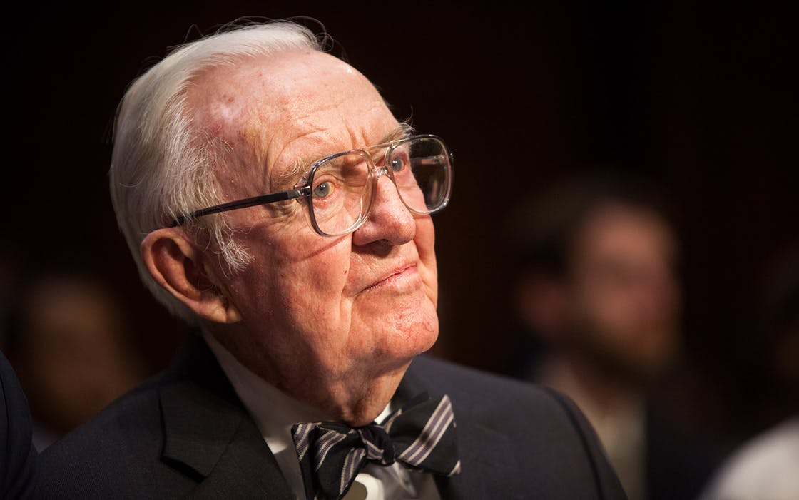 Former Supreme Court Justice John Paul Stevens on Capitol Hill, April 30, 2014 in Washington, DC. Stevens recently wrote an op-ed for the New York Times in favor of repealing the Second Amendment.