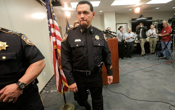 Harris County Sheriff Ed Gonzalez leaves a press conference, Thursday, June 8, 2017 in Houston.