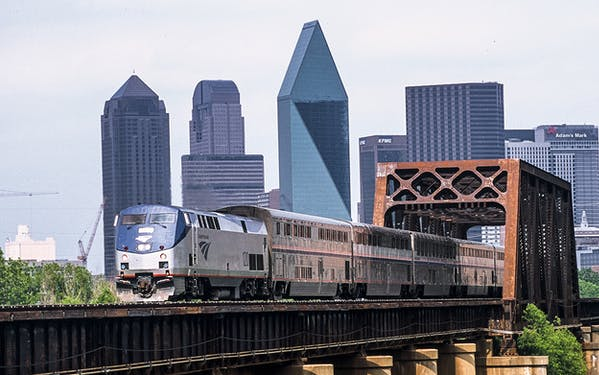 Amtrak's Texas Eagle train heads through Dallas on its way from Chicago to San Antonio.