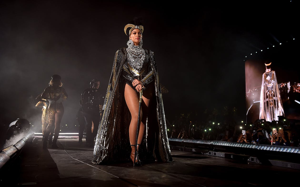Beyonce Knowles performs onstage during 2018 Coachella Valley Music And Arts Festival Weekend 1 at the Empire Polo Field on April 14, 2018 in Indio, California.