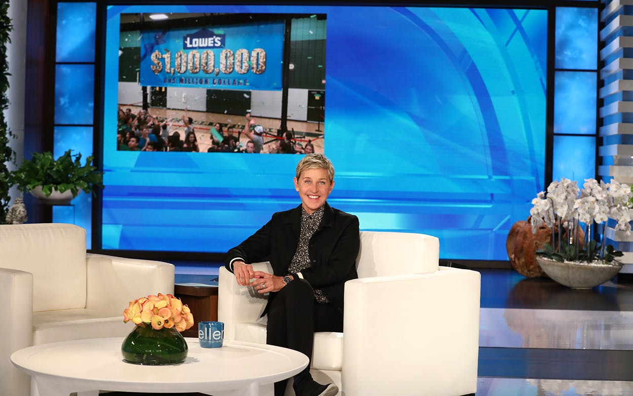 Ellen DeGeneres teamed up with the Lowe's Home Improvement Heroes program to donate money to Rockport-Fulton High School.