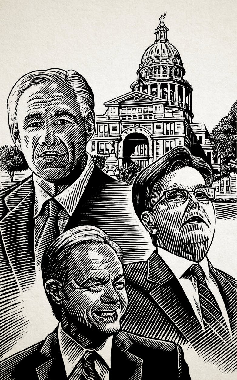Danz illustrated Texas politicians Governor Greg Abbott, Lieutenant Governor Dan Patrick, and Speaker of the House Joe Straus for Wright's book.