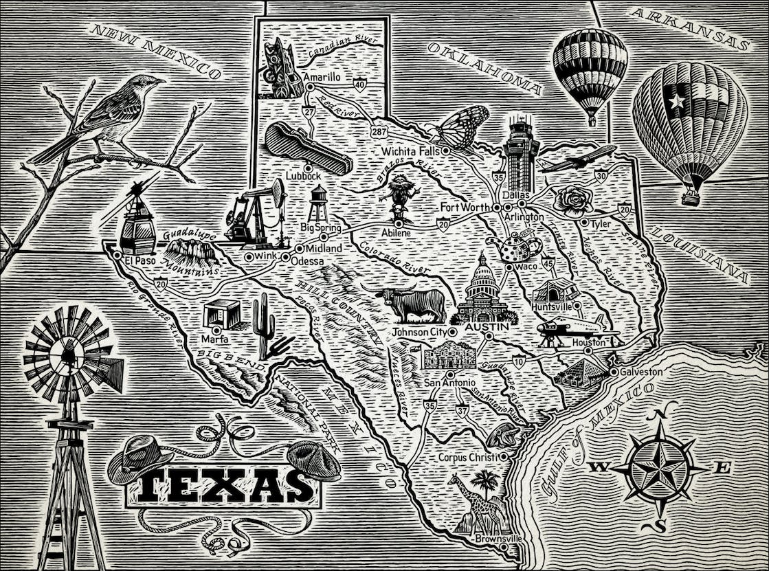 California-based illustrator David Danz researched iconic Texas locations for his map of Texas, included in Lawrence Wright's book 'God Save Texas: A Journey Into the Soul of the Lone Star State.'