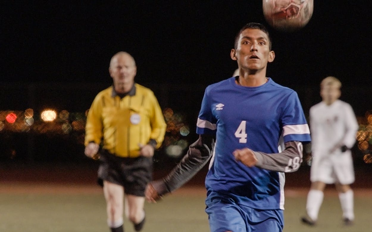 Student-athlete Erik Espinoza Villa plays soccer for El Paso's Bowie High School in the documentary Home + Away from director Matt Ogens.